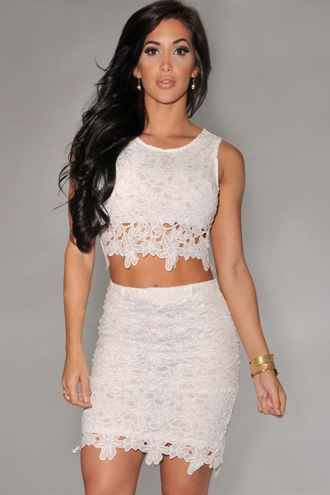 White Graceful Sexy Two-piece Lace Skirt Set