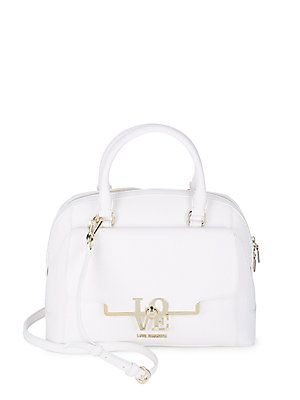 Love Moschino Borsa Saffiano Zippered Satchel - White - Size No Size