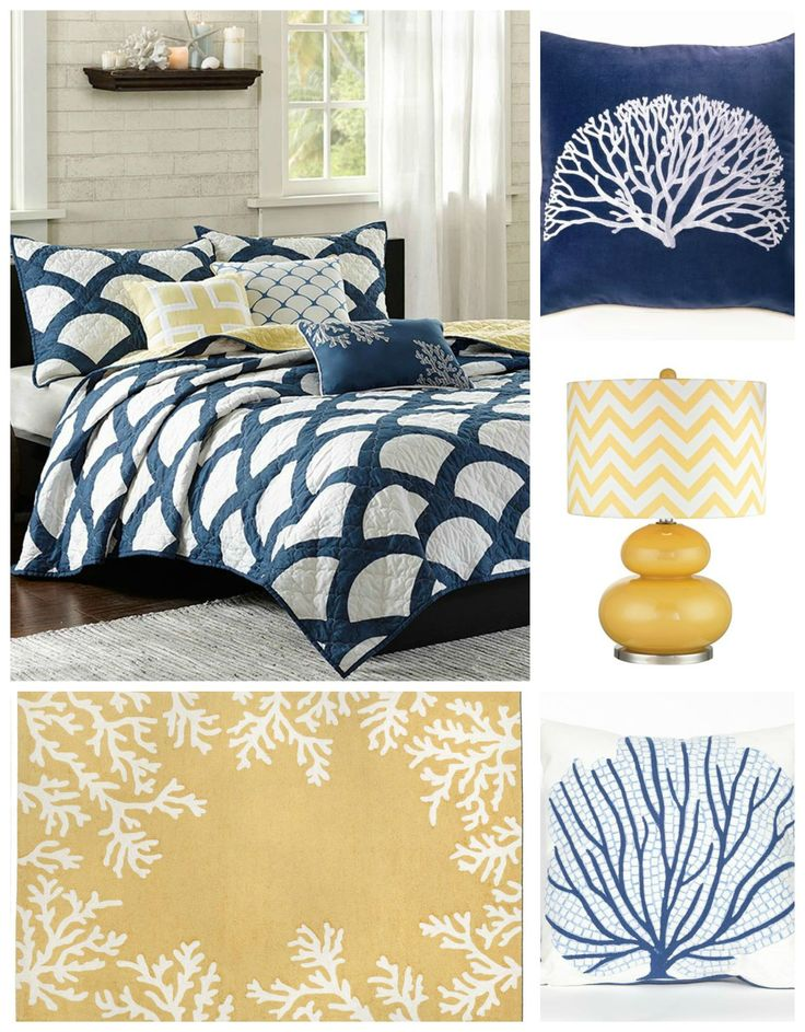 Navy Blue and Yellow Coastal Bedroom decorating such a warm beachy look that can easily