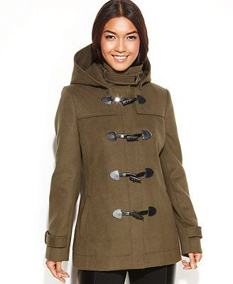 BCBGeneration Coat, Hooded Toggle-Front Duffle- in loden (olive green)