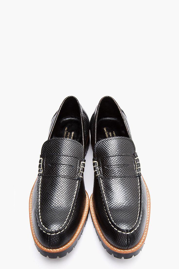 COMME DES GARÇONS HOMME PLUS Black & copper reptile leather loafers