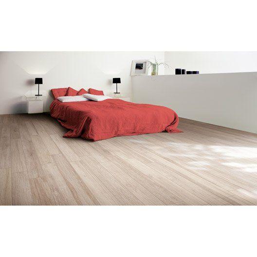 Carrelage sol et mur blanc effet bois way x cm for Carrelage sol blanc