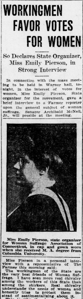 Article from April 11, 1911 Norwich Bulletin regarding labor support for woman suffrage.