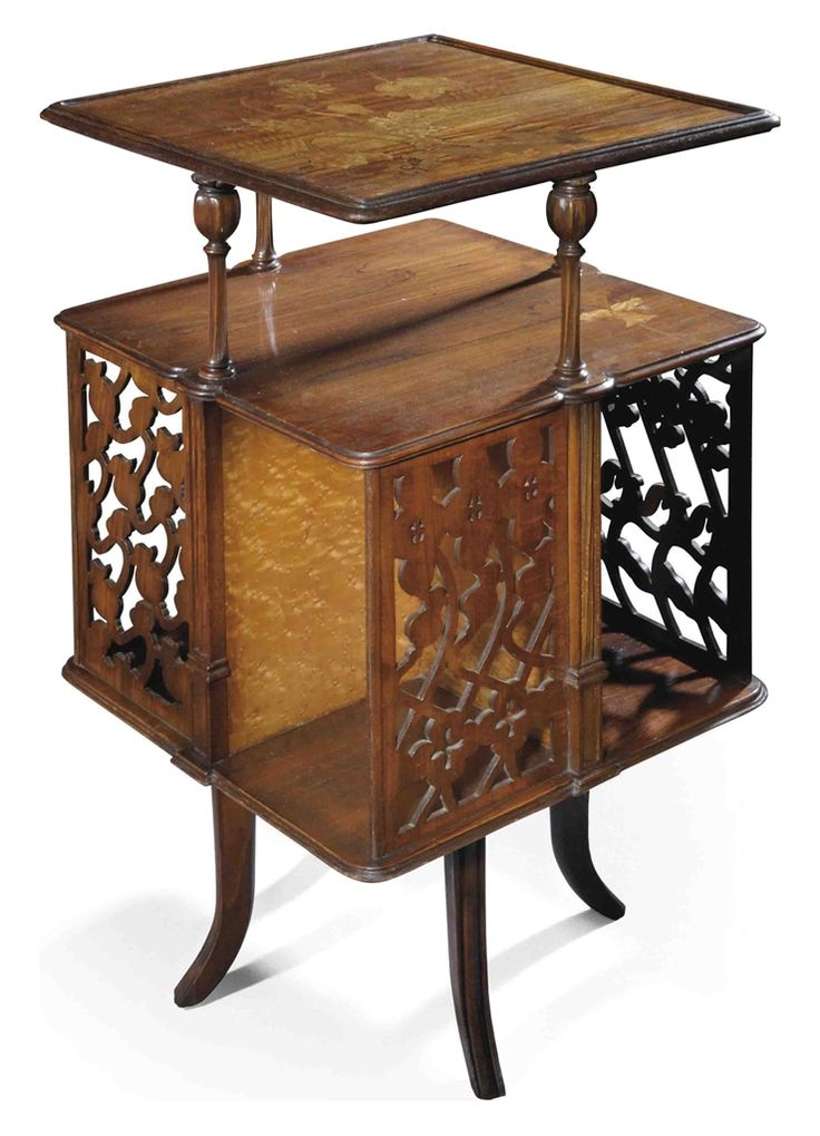 Good Emile Gallé, Revolving Bookcase, Brazilian Rosewood, Walnut, Beech, Inlaid  With Various
