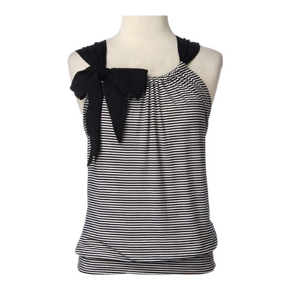Sleeveless Stripe Front with Bow - Polyvore