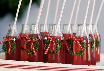 Christmas wedding ~ punch with tiny wreaths ~ ours with burgundy & pink bow ties ♡