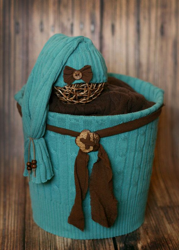 Sweet Brown and Turquoise Upcycle Sweater by HushaByeCreations, $43.00