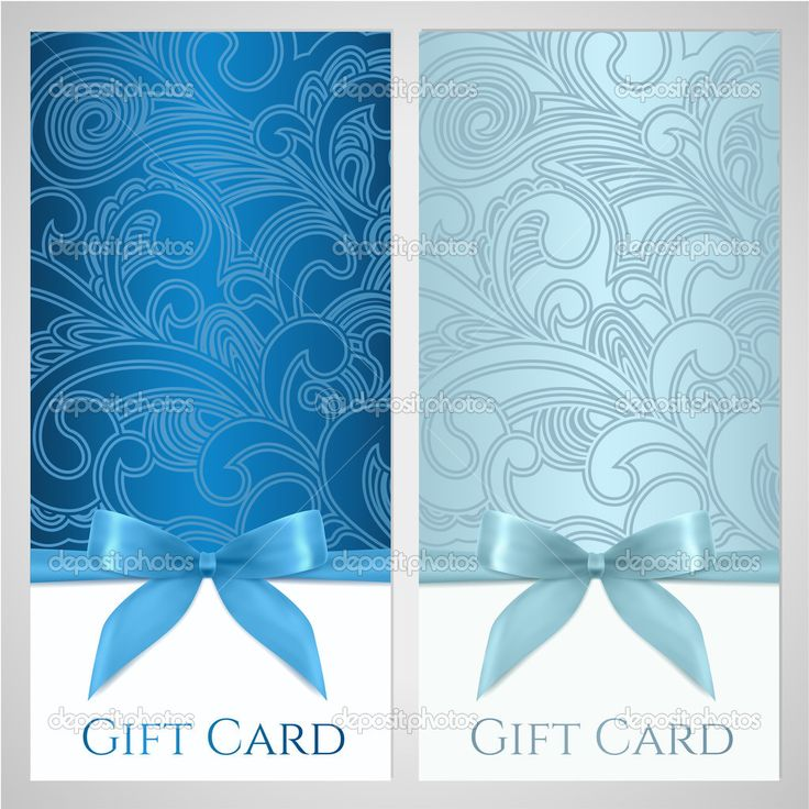 ダウンロード - 商品券、ギフトカード、バウチャー、花とクーポン テンプレート スクロール (渦巻き模様) パターン、弓 (リボン、現在)。招待状、チケット、バナーの背景デザイン青色、青緑色の色をベクトルします。 — ストックイラストレーション #29683651