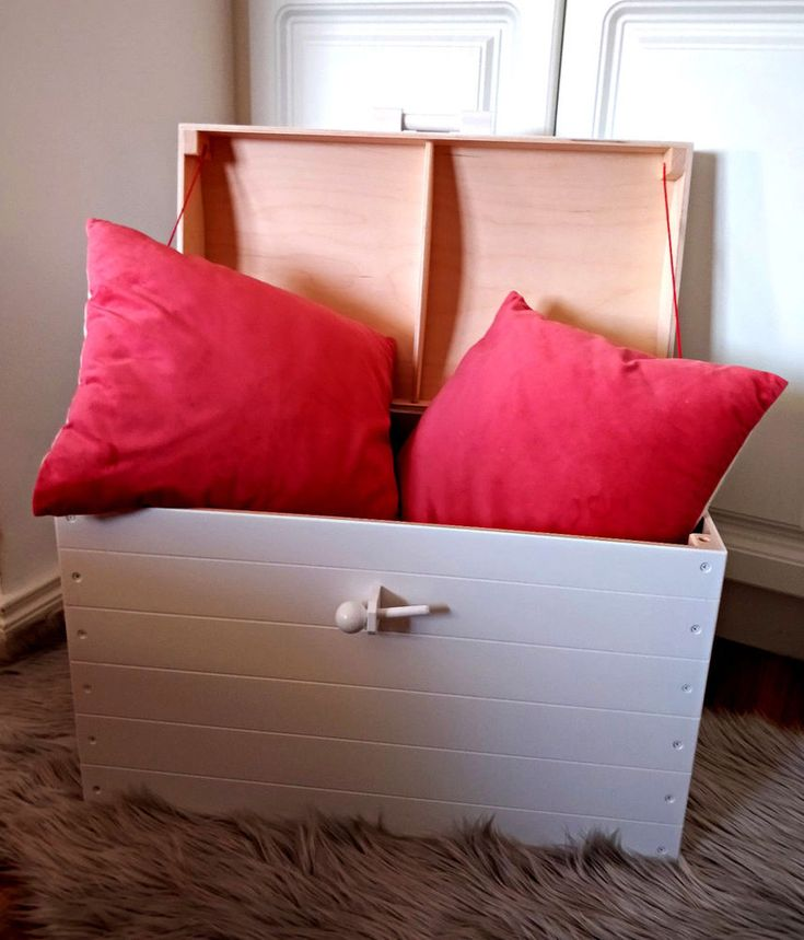 White Chest made of pine wood and plywood Toy Box Bedding Bedroom Playroom Gift | eBay