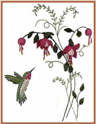 Brazilian Embroidery Pattern Fuchsia and Hummer