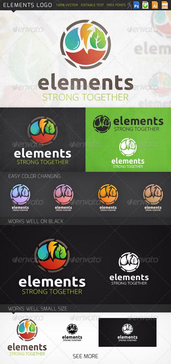 Elements Logo GraphicRiver Fully editable logo PSD, CDR