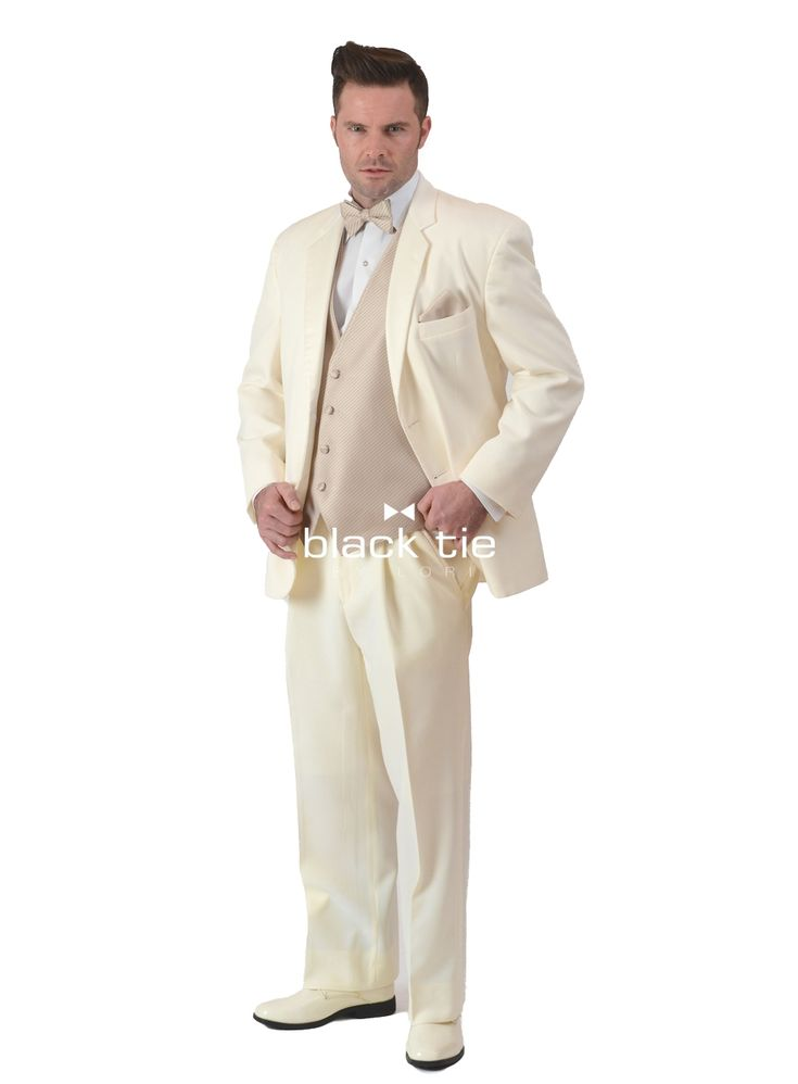 "Ivory ""Contender"" Online Tuxedo Rental - Up the style quotient in an ivory tuxedo jacket with a sleek, satin notched lapel. A perfect choice for a sophisticated, warm weather affair."