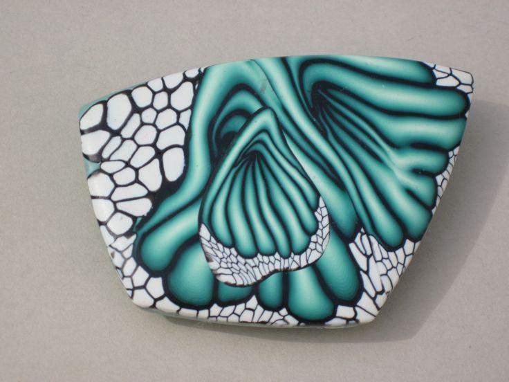 Polymer clay pin by Arlene Finocchiaro