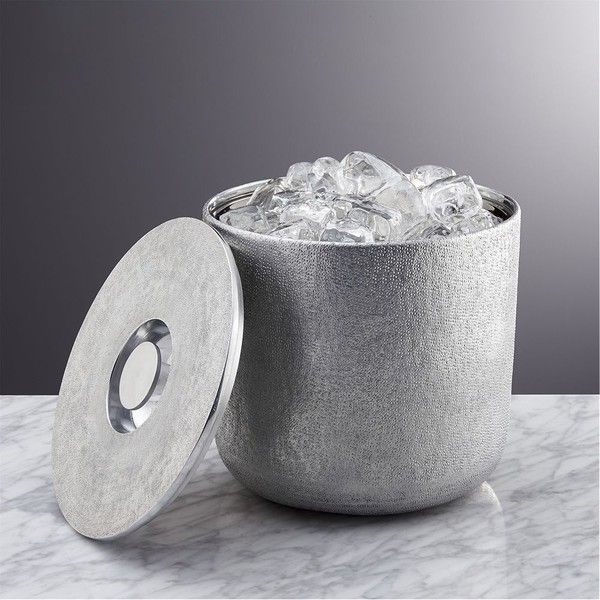 Crate & Barrel Glaze Ice Bucket (230 ILS) ❤ liked on Polyvore featuring home, kitchen & dining, bar tools, hammered ice bucket and crate and barrel