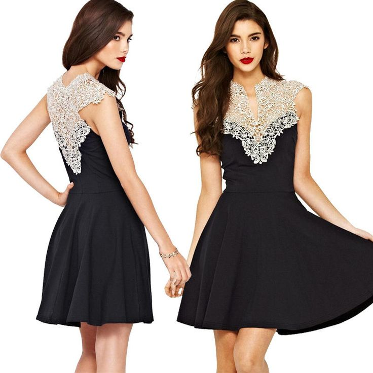 Sexy Ladies Lace Chiffon Sleeveless Dress Party Evening Cocktail Mini Dresses on Luulla