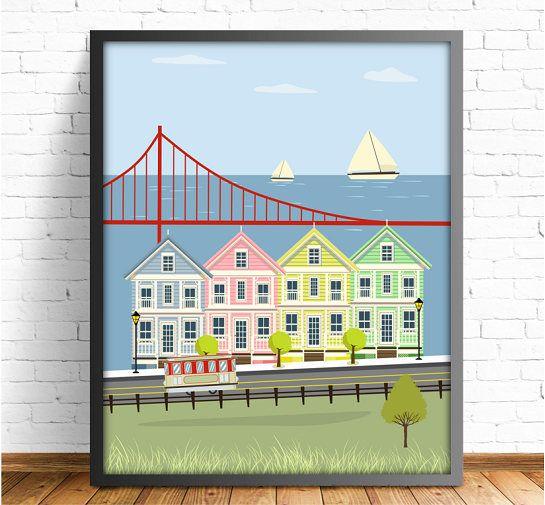 San Francisco,laminas para imprimir,laminas decorativas,laminas ciudades,poster San Francisco,cuadro San Francisco,4 tamaños incluidos
