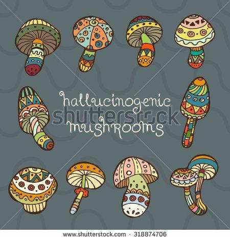 Hallucinogenic mushrooms vector hand drawn illustration
