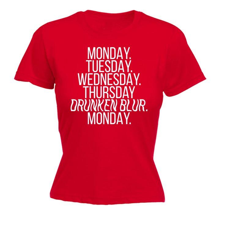 123t USA Women's Monday Tuesday Wednesday Thursday Drunken Blur Monday Funny T-Shirt
