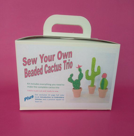 Cactus Craft Kit Sewing Embroiderybeading Kit Gift For Etsy