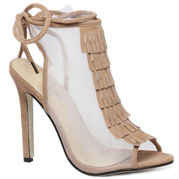 Fashion Fringe and Peep Toe Design Sandals For Women
