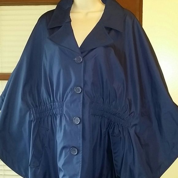 Dennis by Dennis Basso Cape Water Resistant coat Blue dennis by Dennis basso cape lines coat Water resistant,  worn once, very nice cape. 100% Polyester Lining, 100@ Polyester. Dennis basso Jackets & Coats Capes
