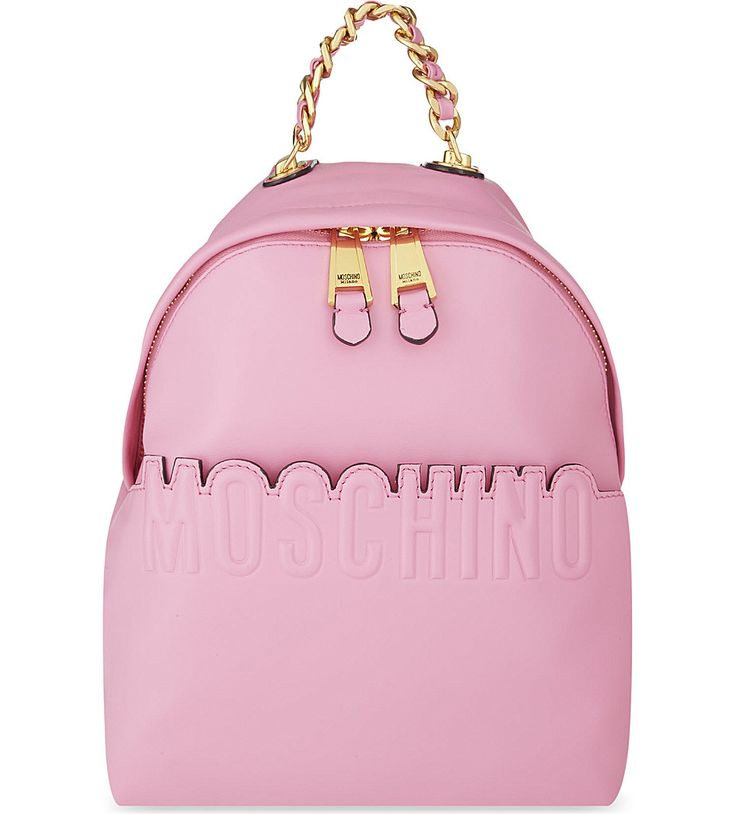MOSCHINO Leather logo backpack (Pink