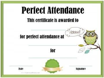 25 best certificates images on pinterest award certificates perfect attendance certificate yadclub Gallery