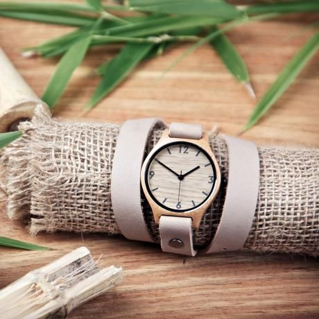 Bamboo Revolution double strap beige bamboo wrap watch <3