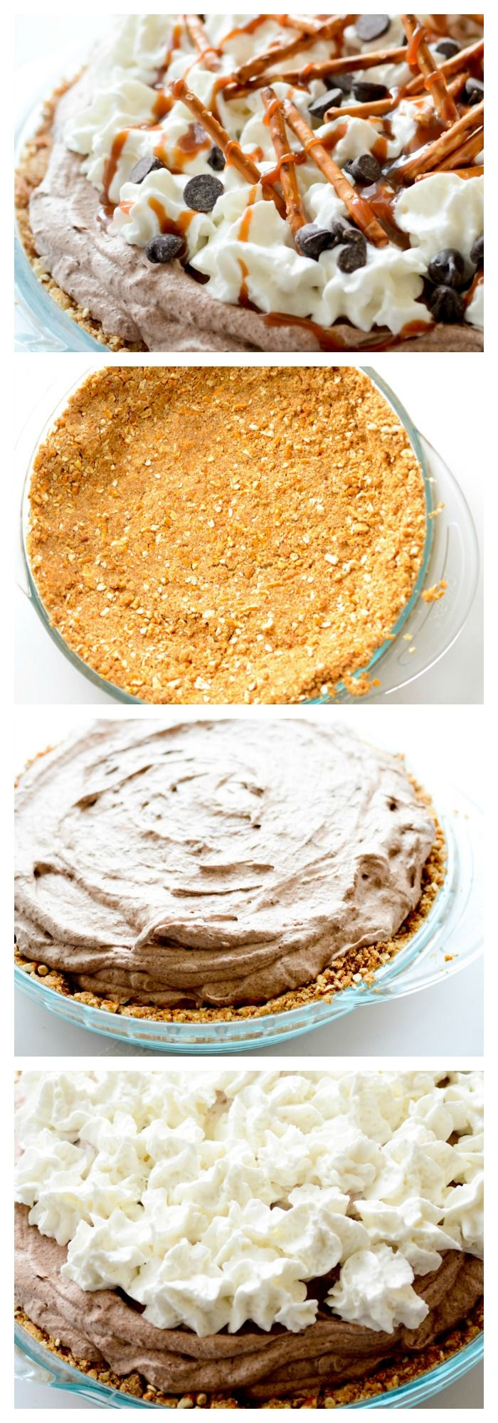 No Bake Chocolate Mousse Pie with Pretzel Crust - Recipe Diaries #pie
