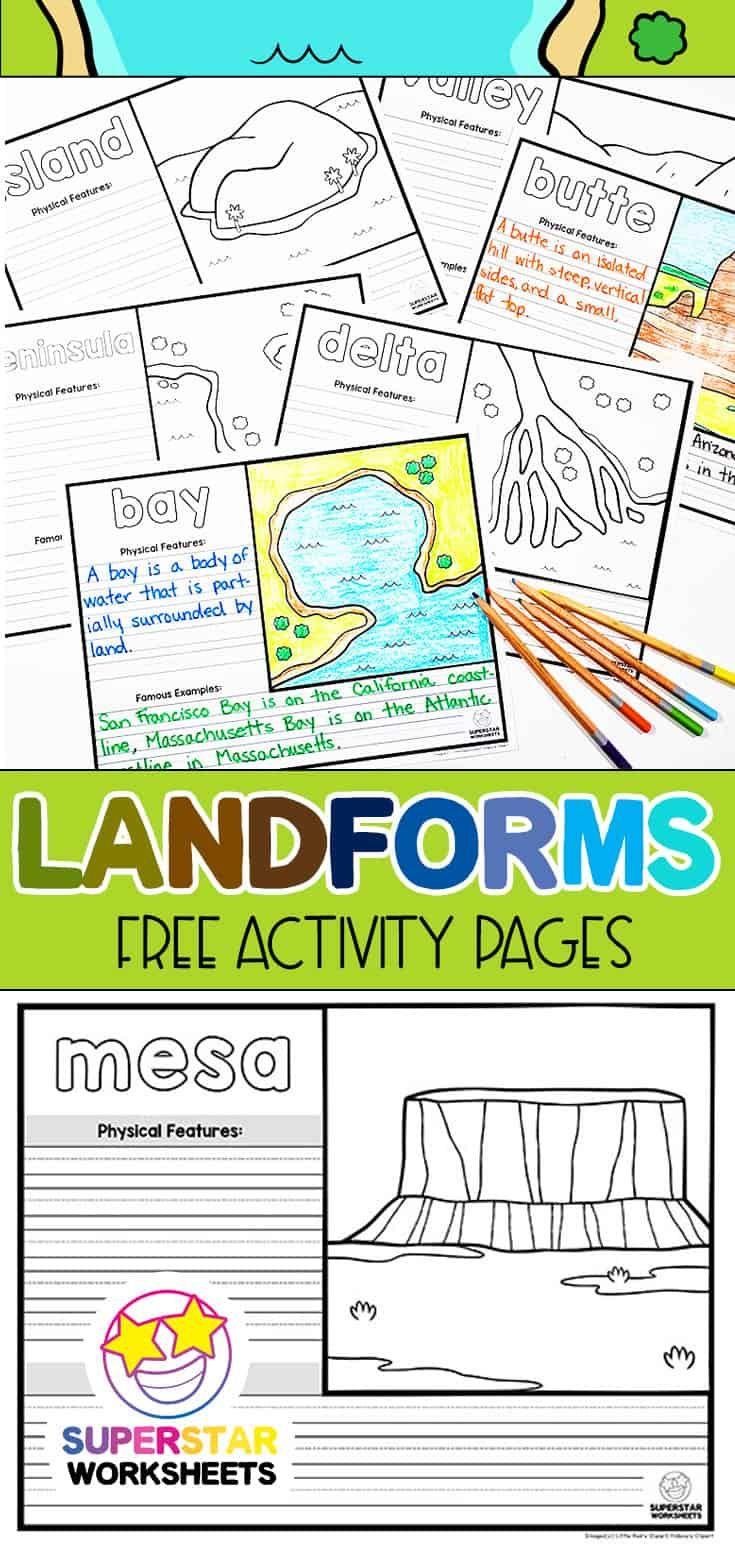 30 Free Landform Worksheets Printables And More Great For Putting Together A Landform Unit Free Science Worksheets Unit Studies Homeschool Science Journal