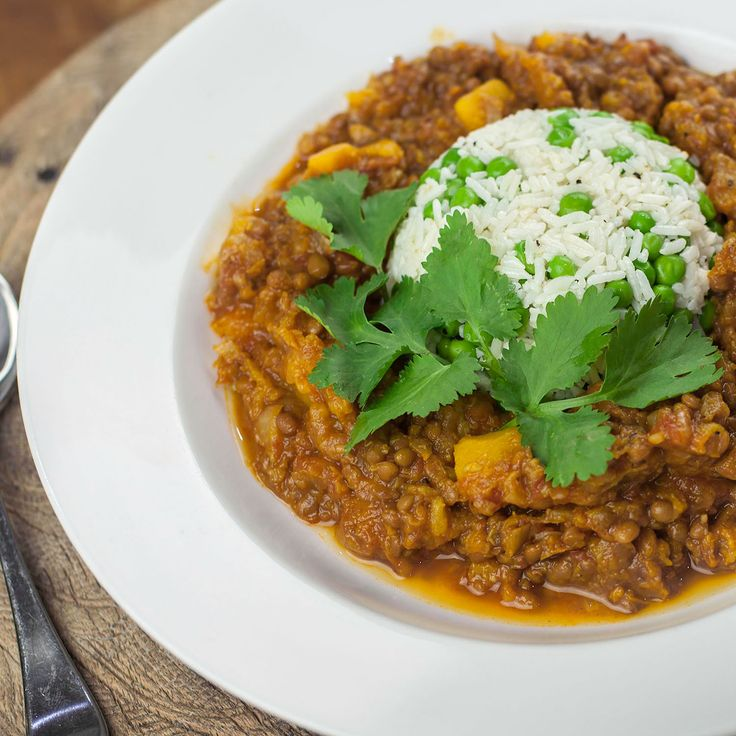 Pumpkin Dhal with Pea Rice -VeganEasy.org
