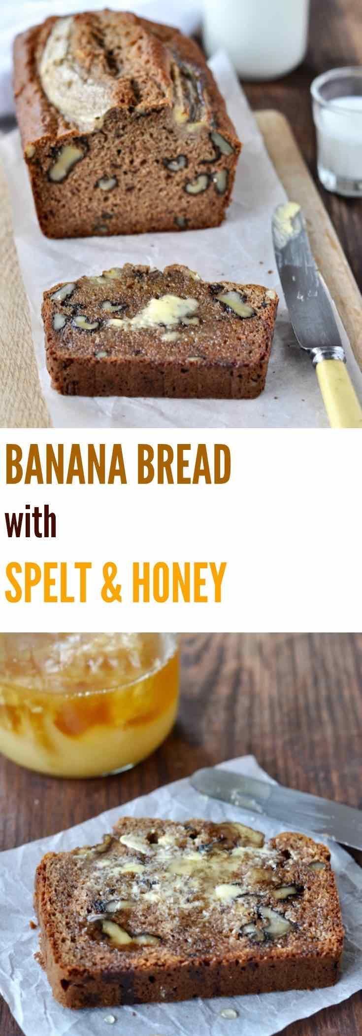 Banana bread with spelt & honey   Plus Ate Six