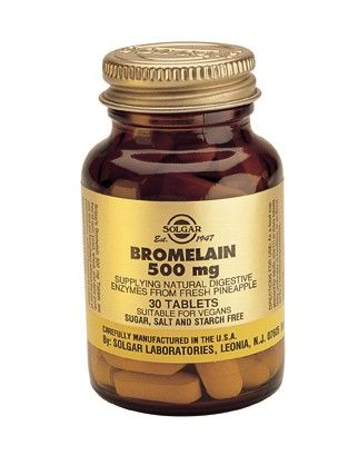 Solgar Bromelain 500mg 30 Tablets, Bromelain is a combination of protein digesting (proteolytic) enzymes found in pineapples. reducing inflammation linked with infection and injuries. Bromelain may reduce swelling, bruising, healing time, and pain following surgery and physical injuries. Bromelain is often used to reduce inflammation associated with tendinitis, sprains and strains, and other minor muscle injuries. Bromelain can digest proteins and may help alleviate stomach upset or…