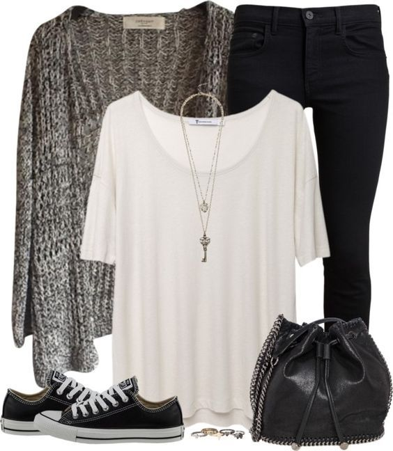 #fall #outfits / Cardigan + Sneakers