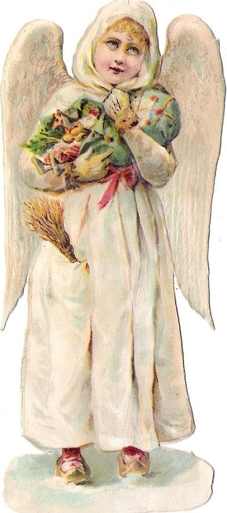 Oblaten Glanzbild scrap die cut chromo Winter Engel 14cm angel  XMAS Schnee snow:
