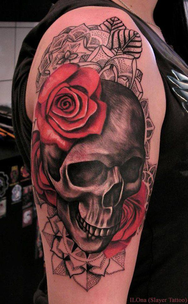 Skull and roses tattoo - 100 Awesome Skull Tattoo Designs