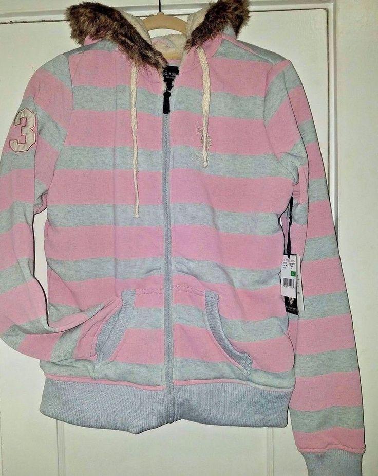 MEDIUM Women's Juniors US POLO ASSOCIATION Pink & Grey Striped Hoodie SWEATSHIRT #PoloRalphLauren #Hoodie