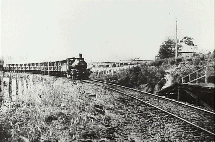 Steam engine hauling coal cars approaching Hazelbrook Station