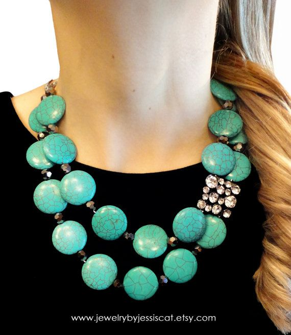 VINTAGE STATEMENT NECKLACE, Gemstone, Turquoise, Necklace, Aqua, Blue, Broach, Bold, Chunky, Genuine, Sparkle, Jewelry by Jessica Theresa
