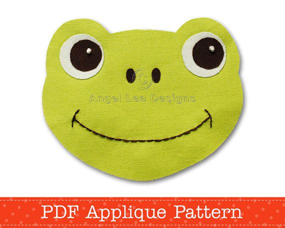 Frog Applique Template Boy and Girl Frog Applique Pattern PDF Pattern for Fusible Web Applique DIY