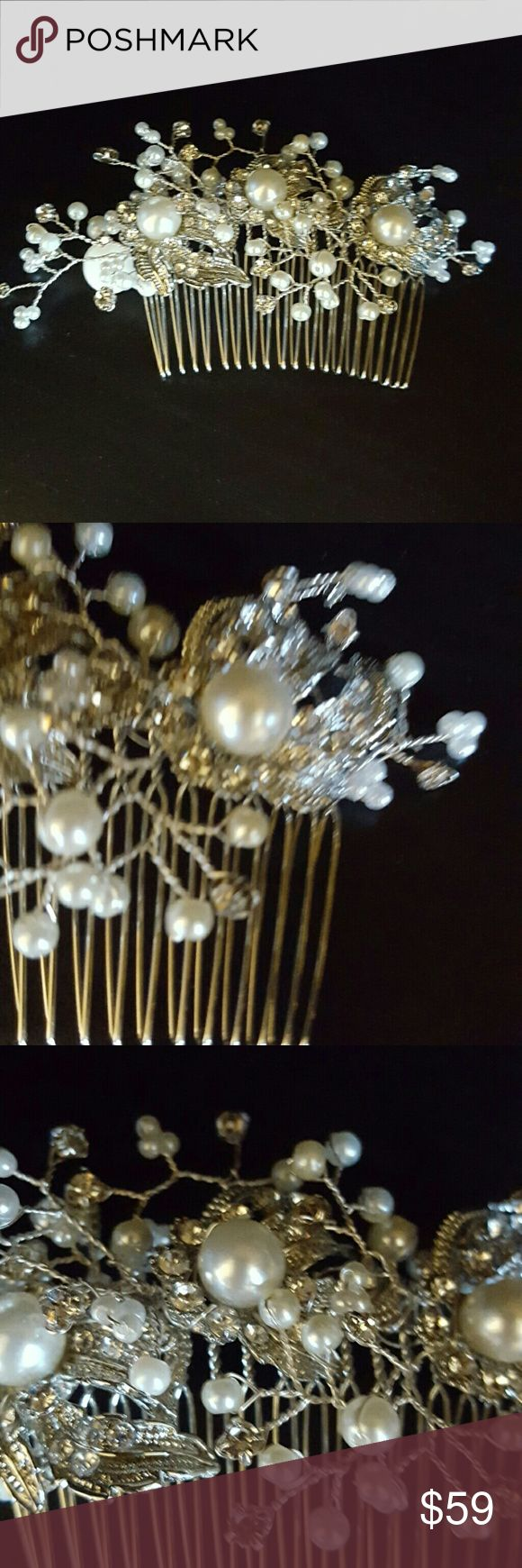 Pearl and rhinestone hair piece Pearl and rhinestone hair piece with 3 focal points. Also 3 millimeter rhinestone Montes mix of 6 millimeter 4 millimeter + 3 millimeter pearls. On a 3-inch comb Uniquely Yours by Gina Nachreiner Accessories Hair Accessories