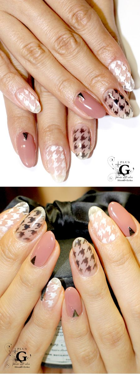 natural basic nail with houndstooth2013