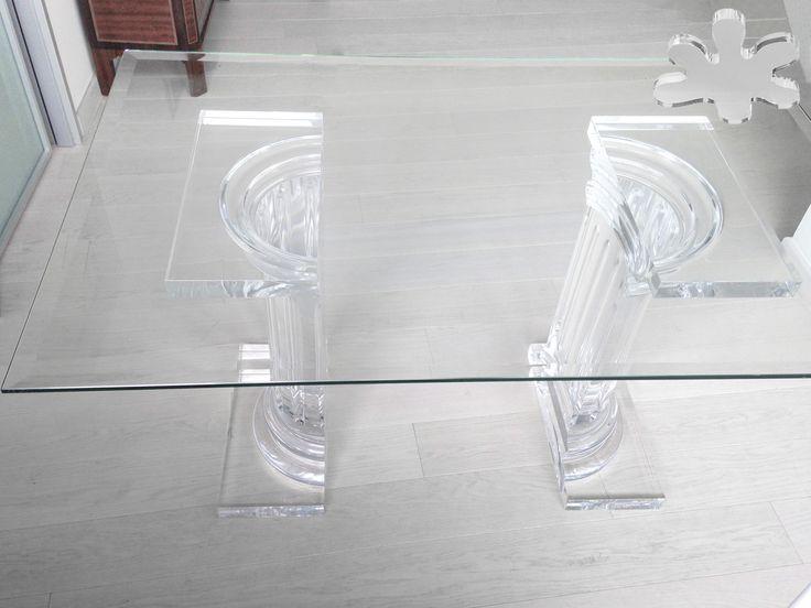 Acrylic interiors - Lucite Acrylic dining table - TAVOLI PRANZO IN PLEXIGLASS | Tavolo trasparente in plexiglass 08b.mod. MEZZO ROMANO | Tavolo in plexiglass cm.140 x 80 h.75 - 2 basI MEZZO ROMANO fusto diam.cm.20 - piani cm.45 x 25 sp.cm.4 - h.tot.cm.75 - piano in vetro sp.mm.15 #lucite #design #homedecor #acrylic