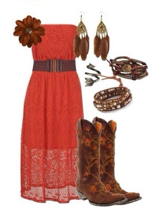 Dark Coral Lace Strapless Dress Cowboy Boots Feather Earrings Country Boho