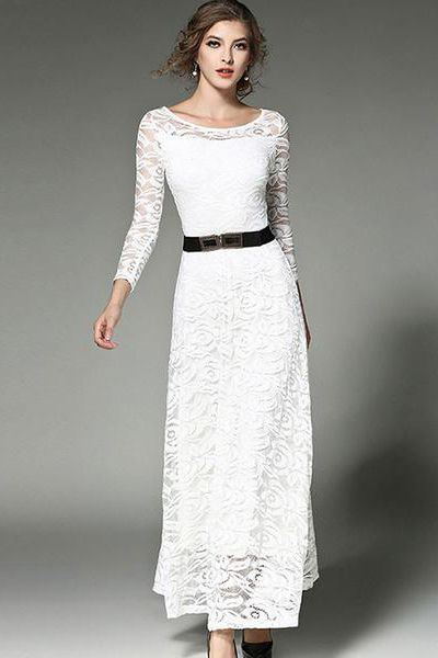 fa146db92b Lace Hollow Out Belt Long Sleeve Maxi Dress in 2019   Charming Maxi ...