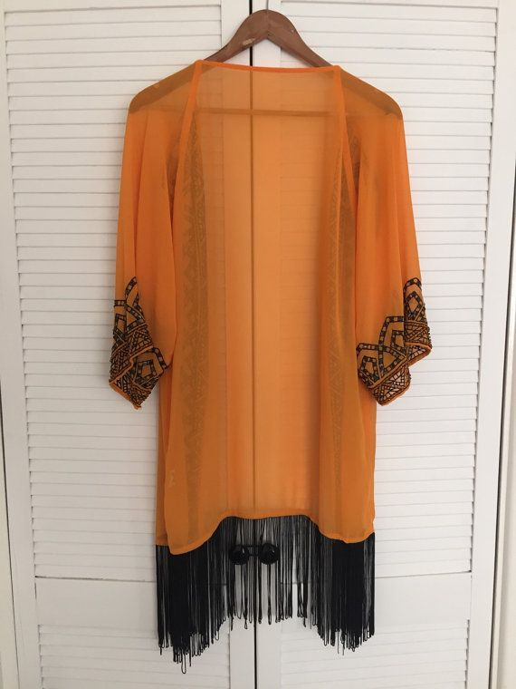 Vintage orange sheer sequined fringed kimono by MODERNOUTLAW