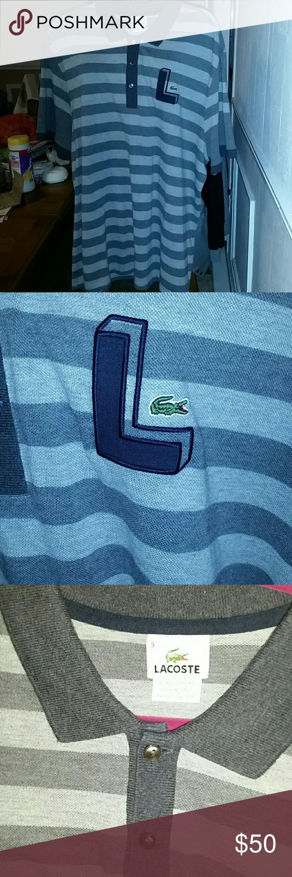 Lacoste polo shirt 3 button Stripped grey Lacoste shirt. Big L  and croc on front Lacoste Shirts Polos