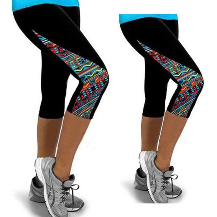 Women Capri Running Yoga Sport Fitness Gym Leggings Aztec Print Exercise Pants L #Unbranded #PantsTightsLeggings