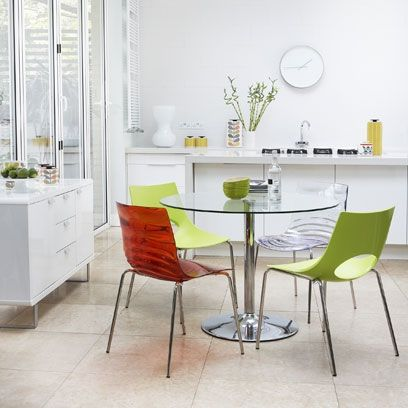 Dining Room Decorating Ideas White With Glass Table And Coloured Perspex Chairs