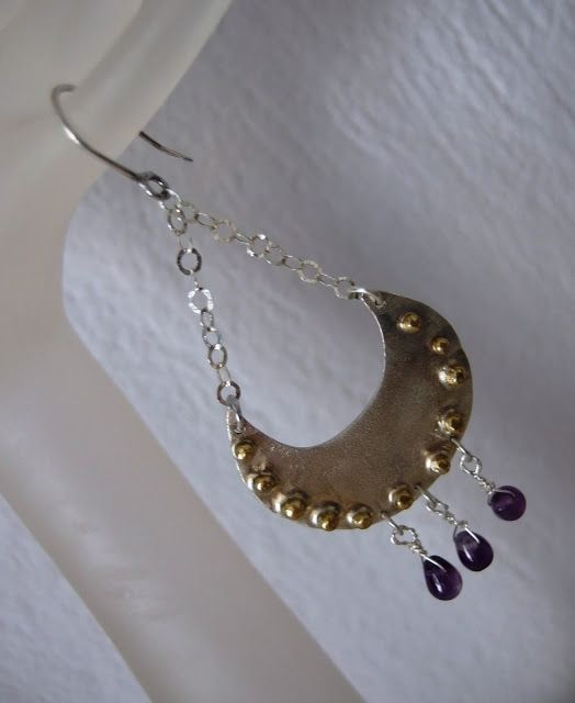 handmade jewellery - Kiki   χειροποίητα κοσμήματα: handmade Silver 925, Amethyst, earrings
